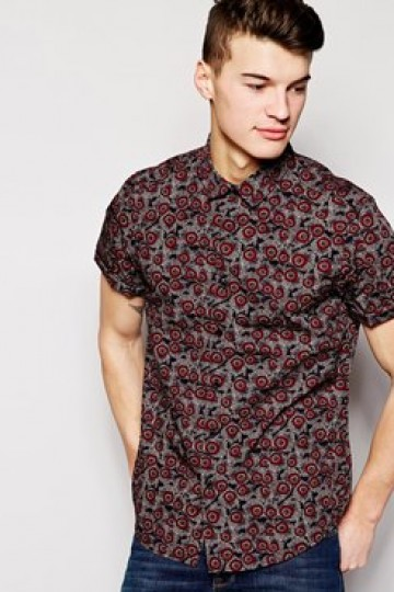 New Look Short Sleeve Shirt with Feather Print