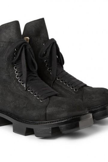 Rick Owens - Plinth Distressed Leather Boots | MR PORTER