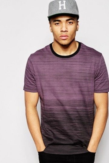 ASOS Longline T-shirt with Stripe Print and Dip Dye