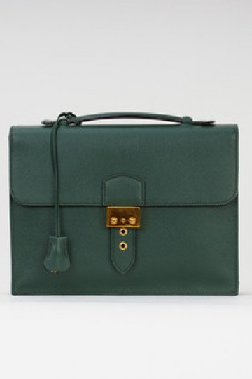 Royal Highness Mini Leather Briefcase/Clutch Bag- Green