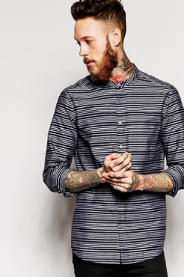 ASOS Shirt In Long Sleeve And Grandad Collar With Oxford Stripe