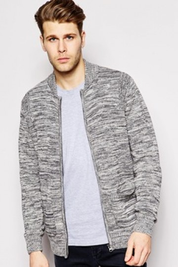 Native Youth Knitted Twisted Yarn Knitted Bomber
