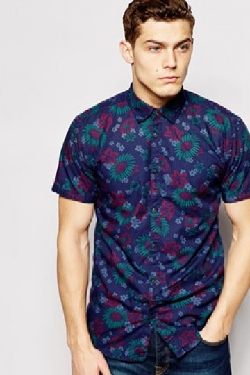Jack & Jones Short Sleeve Chambray Shirt with Floral Print