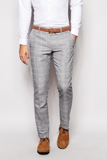 River Island Slim Fit Suit Trousers with Check
