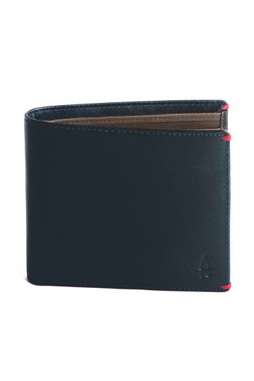 Blue Leather Billfold Wallet with Coin Compartment