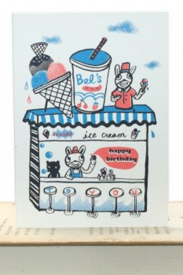 Happy Birthday Ice Cream Shop card by Bel's Art World | Little Moose | Cute bags, gifts, toys, jewellery and accessories from independent designers and famous brands