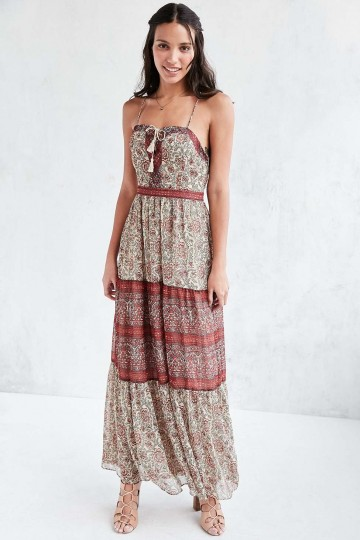 Ecote Face the Music Floral Lace-Up Maxi Dress