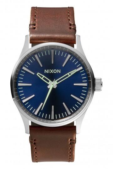 Nixon Sentry 38 Leather Navy/Brown Watch
