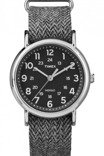 Timex Weekender™ Tweed with Silver-Tone Case and Fabric Strap