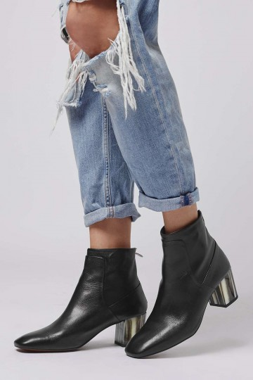 MUSIC Bone Heel Ankle Boots