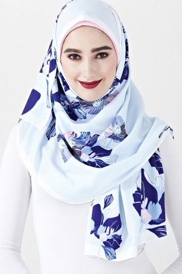 Limited Edition Slania Scarf with Elina Floral Prints in Light Blue