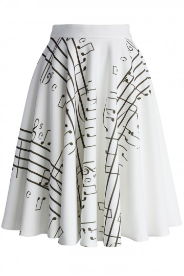 Music Notes Airy Pleated Skirt