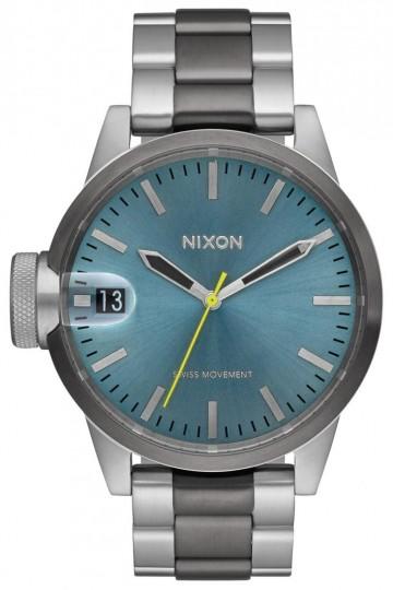 Nixon Chronicle 44 - Gunmetal/Aqua