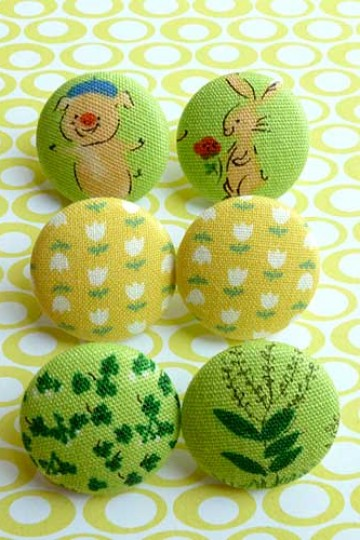 littleoddforest | Piggy And Bunny (Pack Of 6 Fabric Buttons)