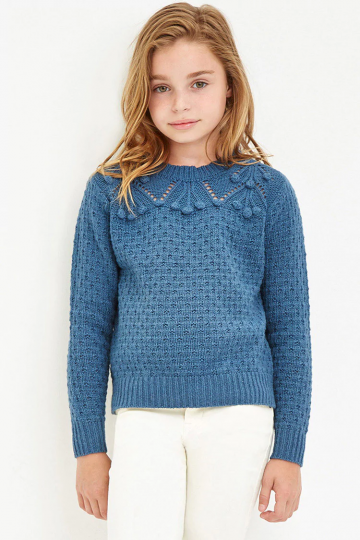 Girls Pom Pom Loose Knit Sweater (Kids)
