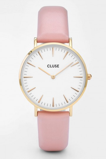 La Bohème Gold Watch in White and Pink