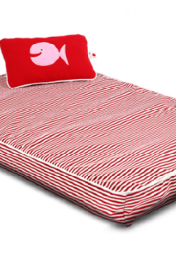 Orthopedic Latex Pet Bed - Red Stripe Canvas