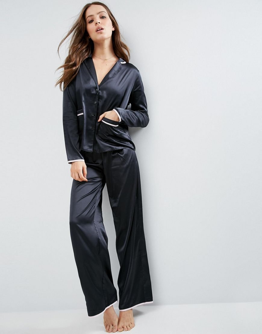 Image result for ASOS Christy Satin Long Leg Pyjama Set