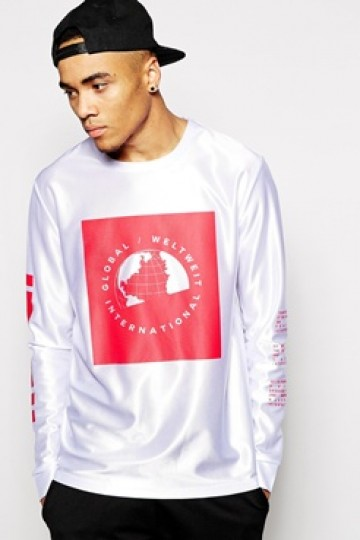ASOS Skater Long Sleeve T-Shirt With Print In High Shine Fabric