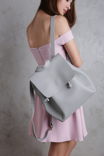 Sora Leather Backpack (Grey)