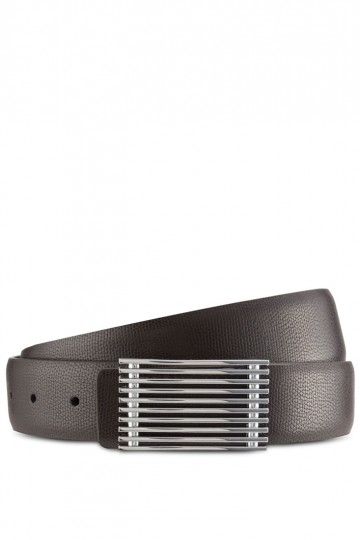 Silver Plate Buckle Leather Belt
