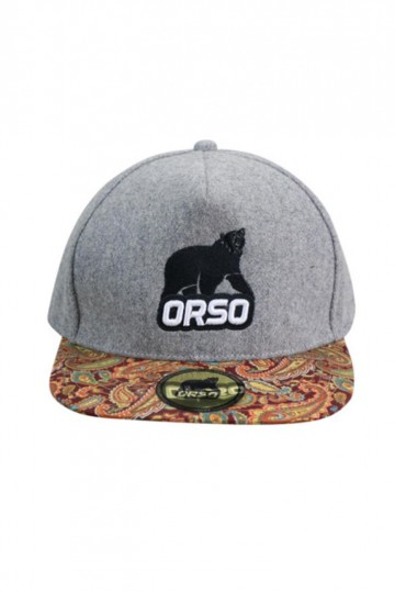 Orso Paisley Design Visor Light Grey Cotton Cap
