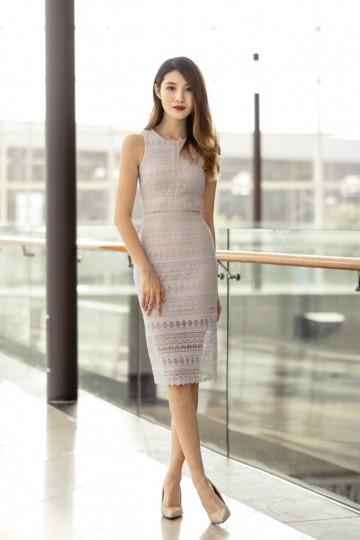 Elegant Expression Midi Dress (Light Lavender)