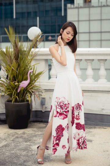 Crimson Sways Lattice Maxi Dress