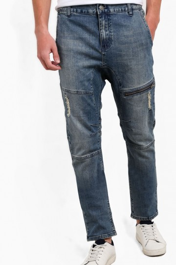 Customised Drop Crotch Slim Jeans