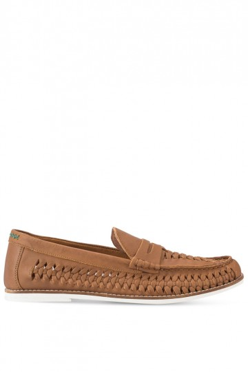 Tan Leather Weave Penny Loafers
