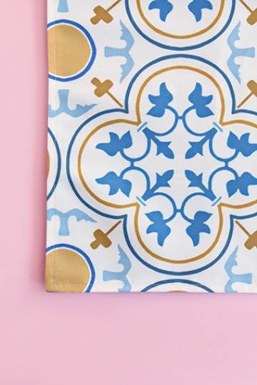 Vintage Tile Table Runner - Blue