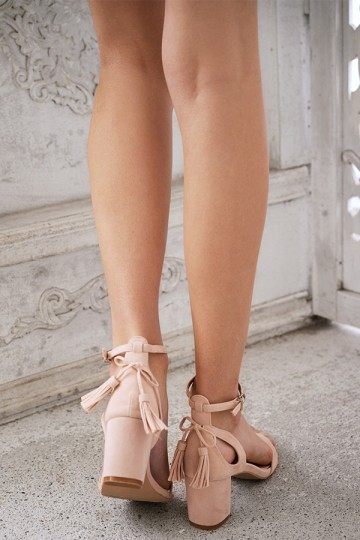 Ancelle Low Block Heels in Nude Pink