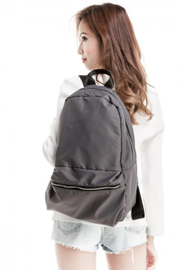 Leather Strap Backpack (Grey)