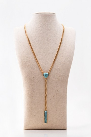 Handmade Y Turquoise Howlite Colete Long Necklace