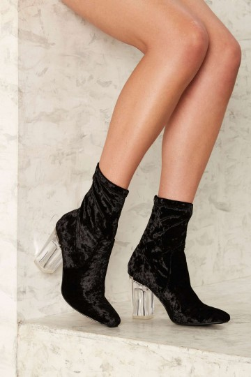 So Crushed Velvet Boot - Black