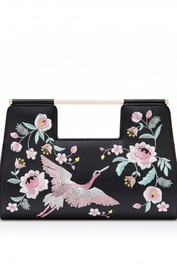 Emma Embroidered Bird Clutch Bag