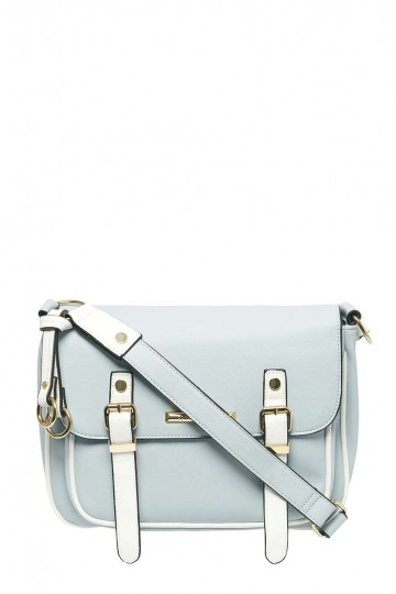 Pale Blue Piped Satchel Crossbody Bag