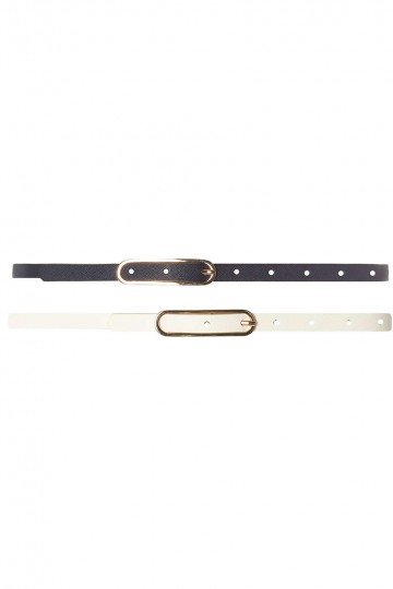 Navy and Cream Oval 2 Pack Belts