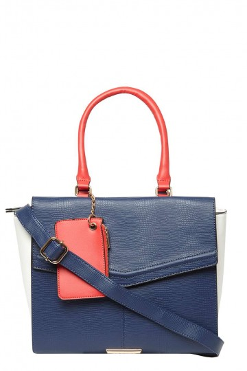 Navy and Red Mix Large Wing Tote Bag