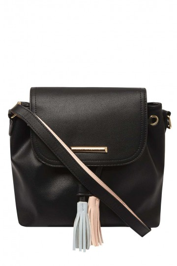 Black Tassel Duffle Crossbody Bag