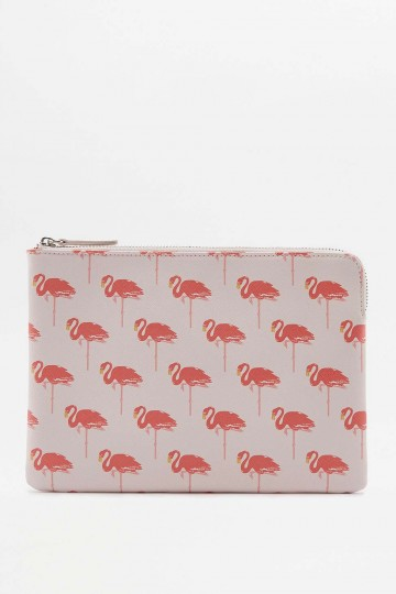 Pink Flamingo Printed Zip Pouch