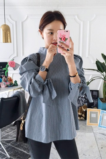 Knotted Cuffs Puffy Shoulders Striped Blouse