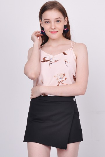 Abriana Floral Spag Top Pink