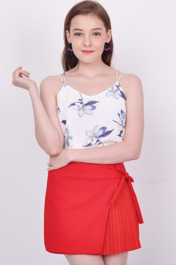 Abriana Floral Spag Top White