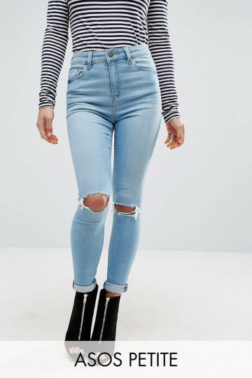 ASOS PETITE Ridley Full Length Jeans in Felix Wash