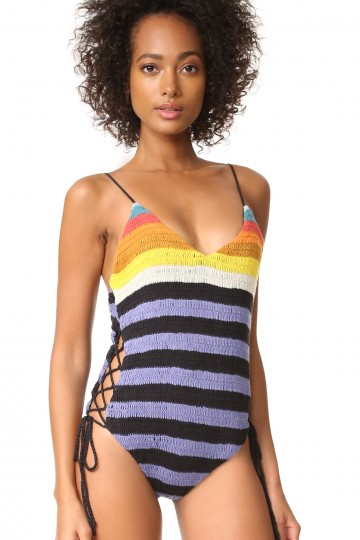 Crochet Lace Up Side One Piece