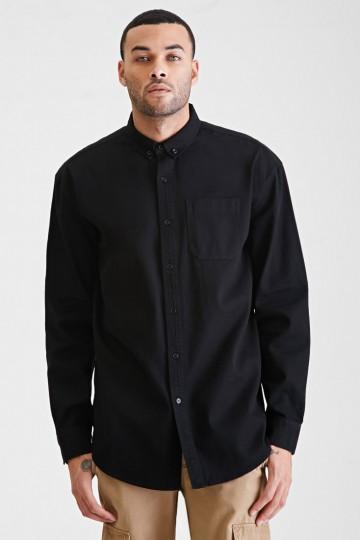 Longline Oxford Collar Shirt