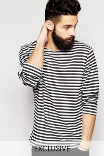 Reclaimed Vintage Military Striped Long Sleeve T-Shirt